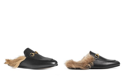 Gucci Women's Princetown Leather and Lamb Fur Mules - Bloomingdale's_2